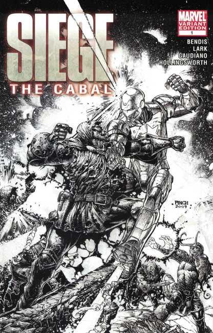 Siege The Cabal #1 1:75 David Finch B&W Sketch Variant Marvel 2009 Bendis