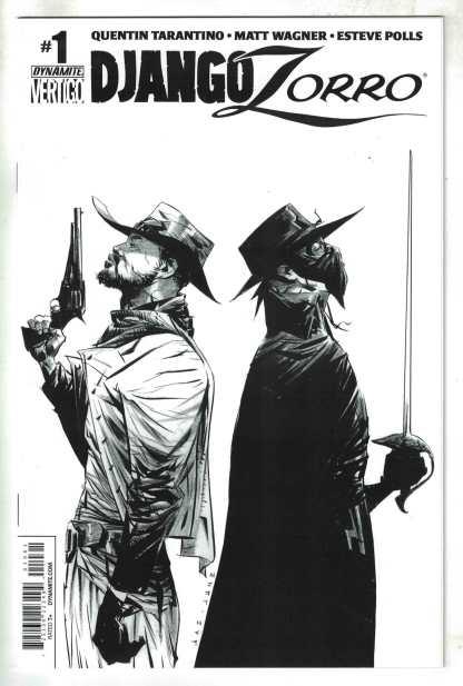 Django Zorro #1 1:50 Jae Lee B&W Sketch Variant Tarantino Dynamite 2014 VF/NM