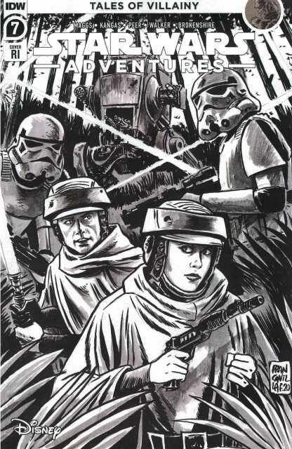 Star Wars Adventures #7 1:10 Francesco Francavilla B&W Sketch Variant IDW 2020