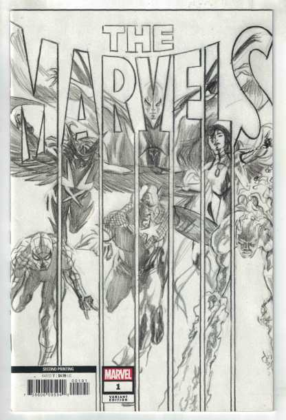 The Marvels #1 1:25 2nd Print Ross B&W Sketch Marvel 2020 Busiek VF/NM