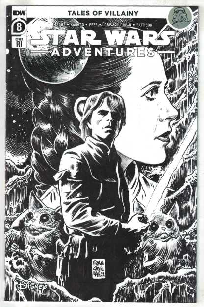 Star Wars Adventures #8 1:10 Francavilla B&W Variant IDW 2020 VF/NM