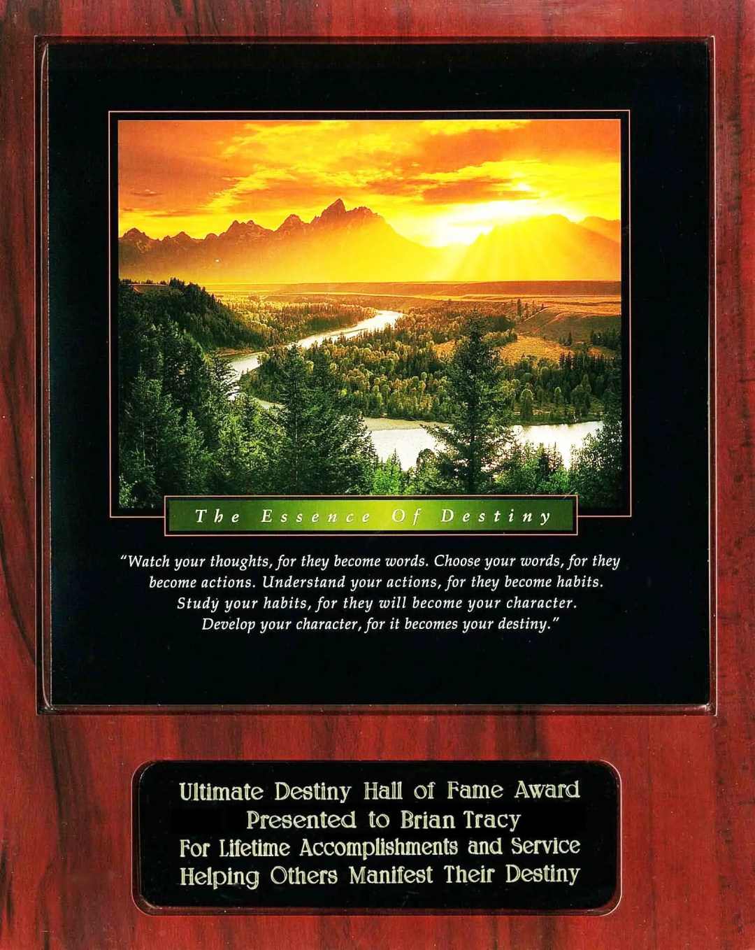 Brian Tracy Ultimate Destiny Hall of Fame Award Plaque