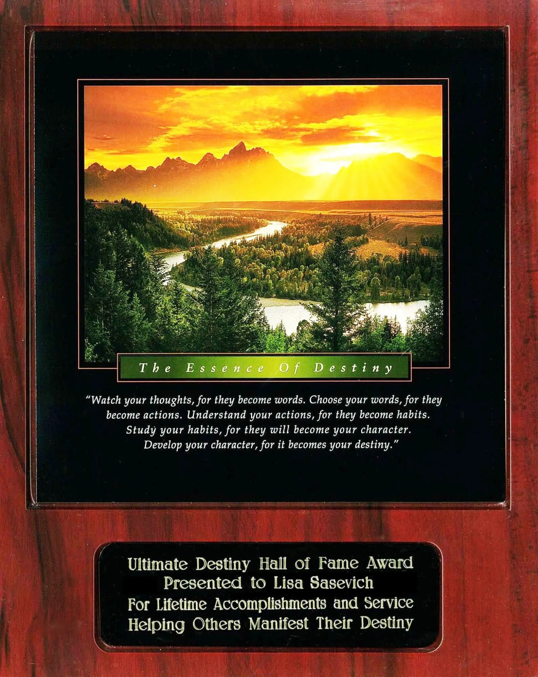 Lisa Sasevich Ultimate Destiny Hall of Fame Award Recipient Plaque
