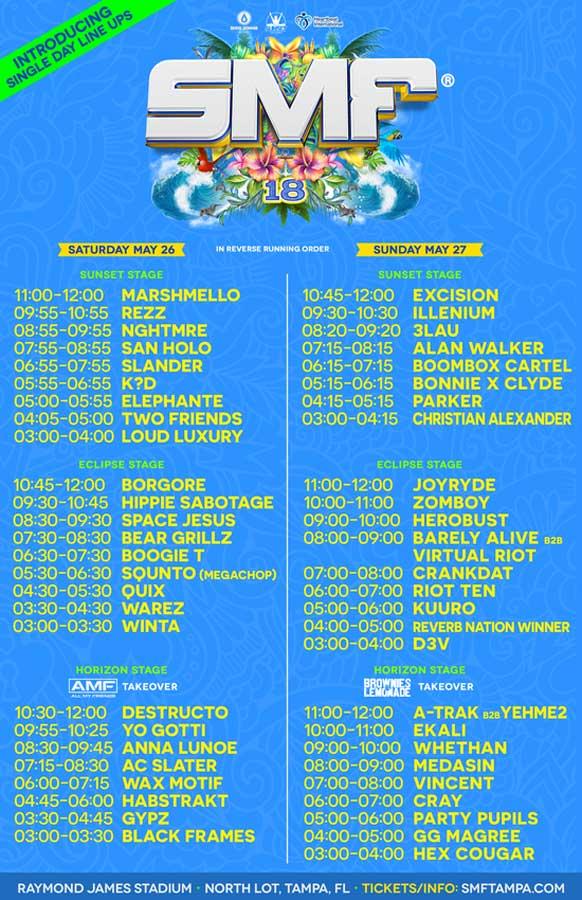 Sunset Music Festival 2018 daily line ups