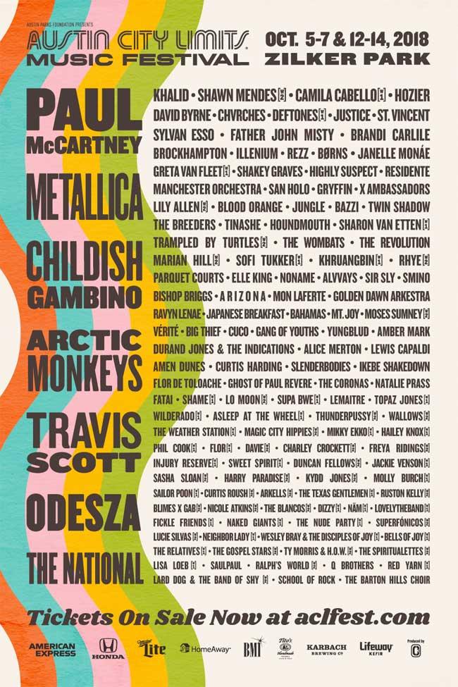 Austin City Limits Festival 2018 poster