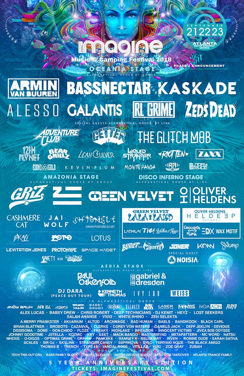 Imagine Music Festival in Atlanta 2018 new poster with bassnectar and Kaskade added