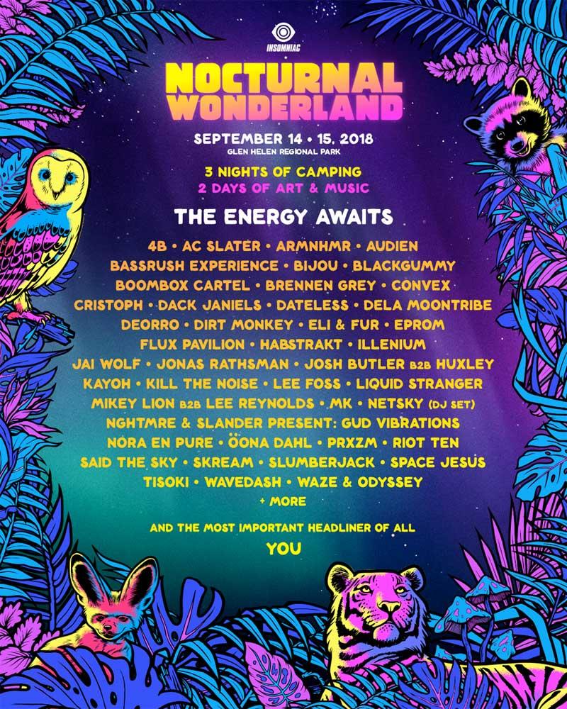 Nocturnal Wonderland Festival 2018 poster