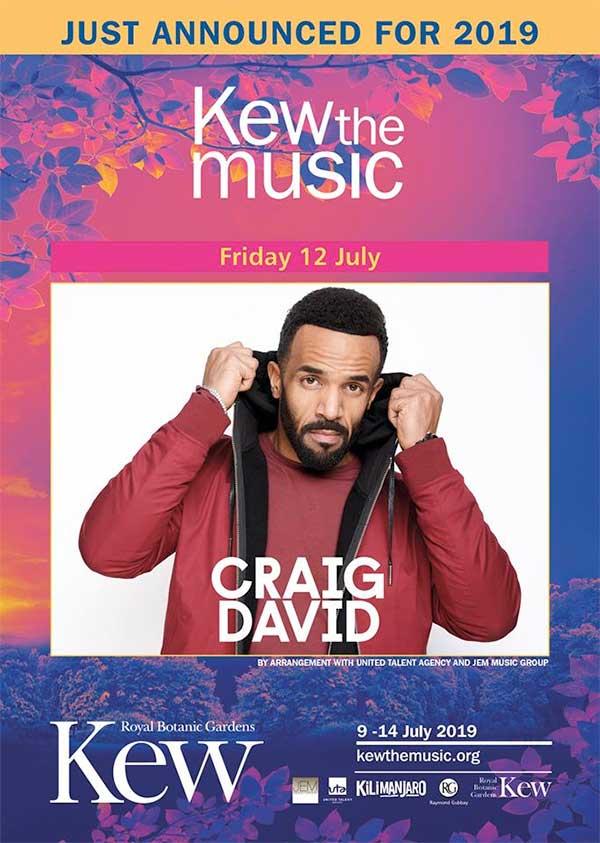 Craig David to headline Kew The Music UK 2019 poster