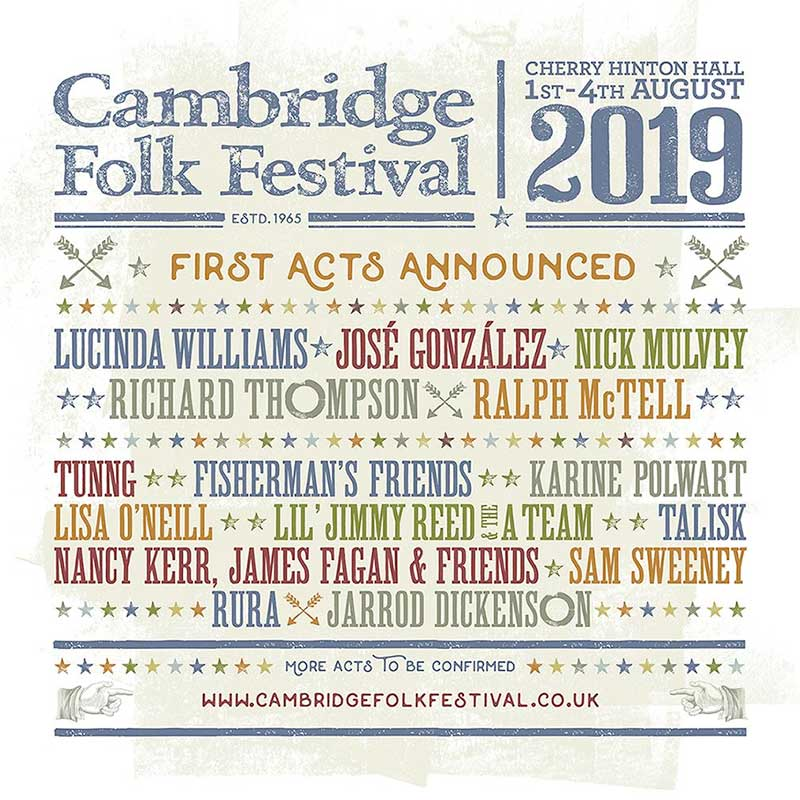 Cambridge Folk Festival 2019 first acts poster