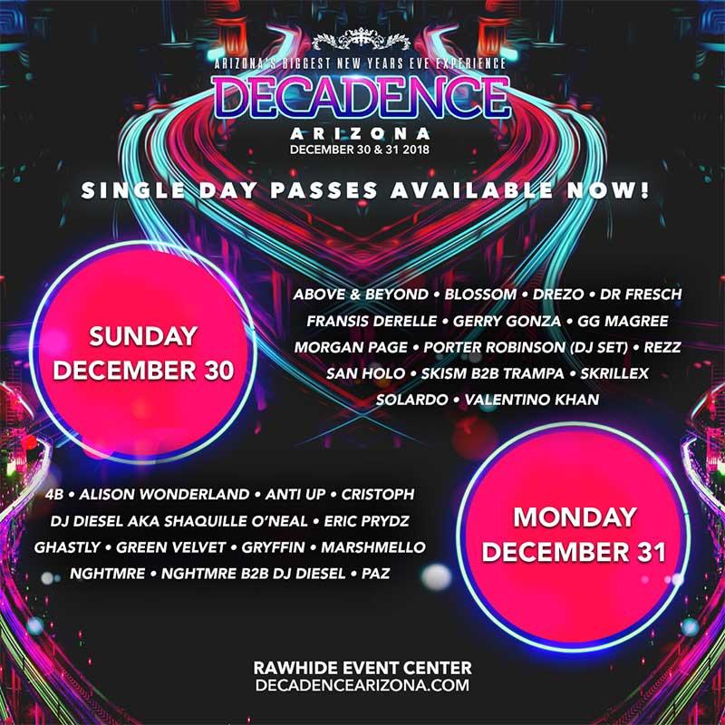 Decadence Festival Arizona 2019 daily poster