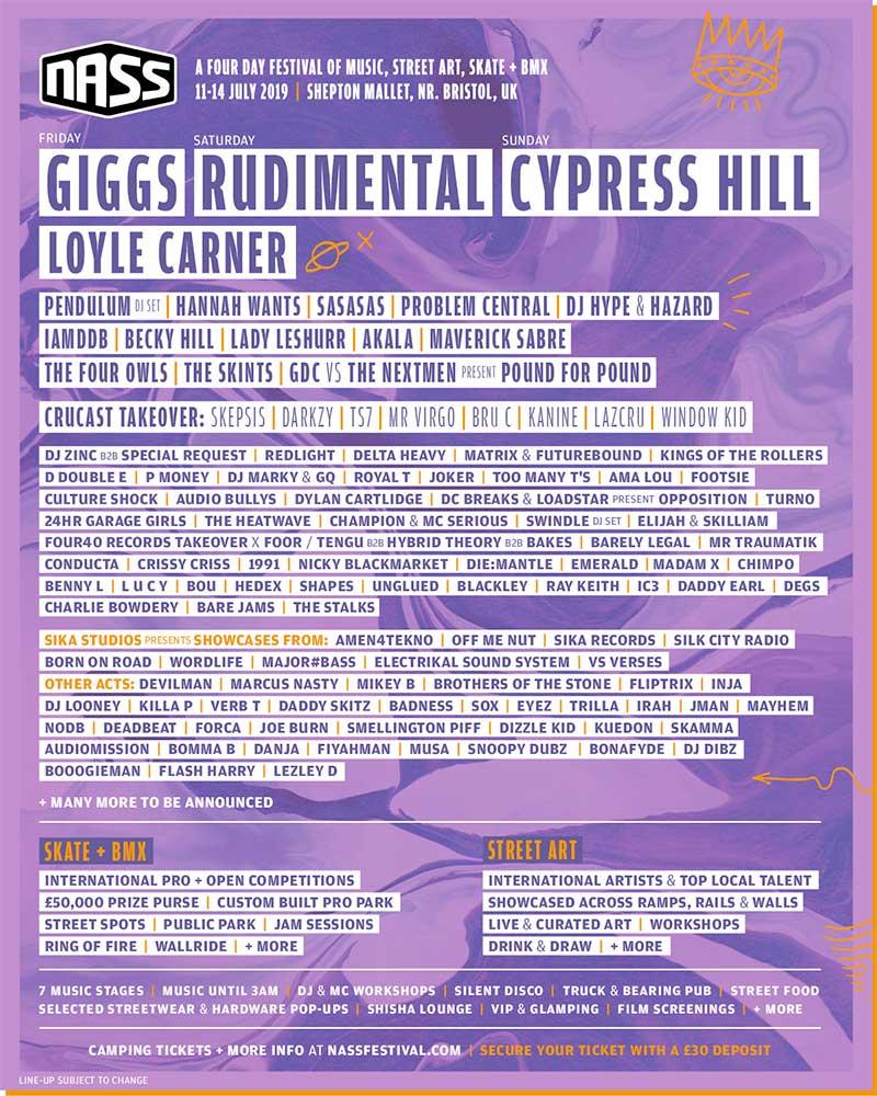NASS Festival 2019 UK 2nd phase artists poster