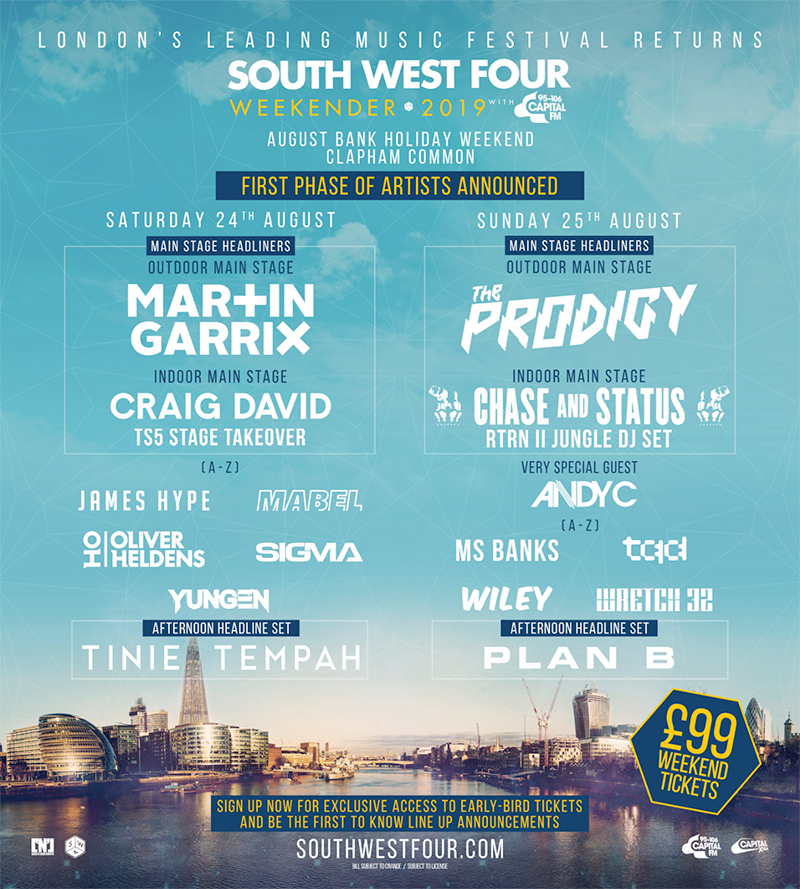 South West Four UK 2019 first acts poster