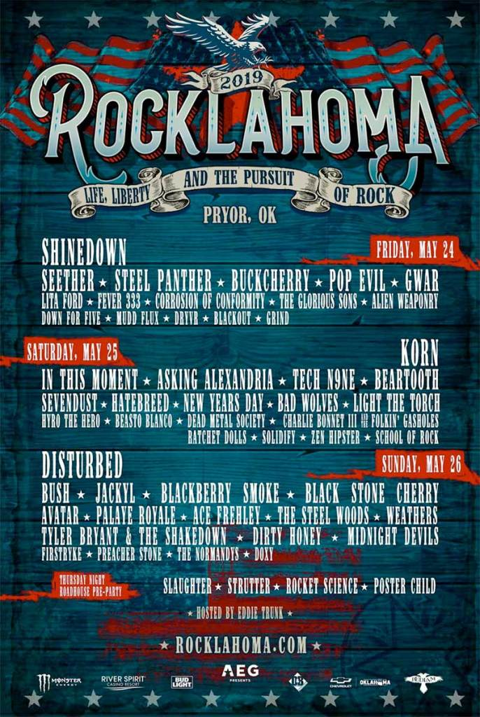 Rocklahoma 2019 poster with Korn