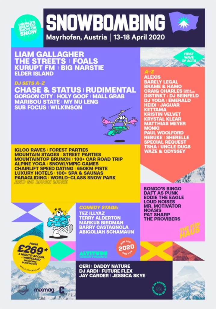 Snowbombing Festival first acts poster 2020