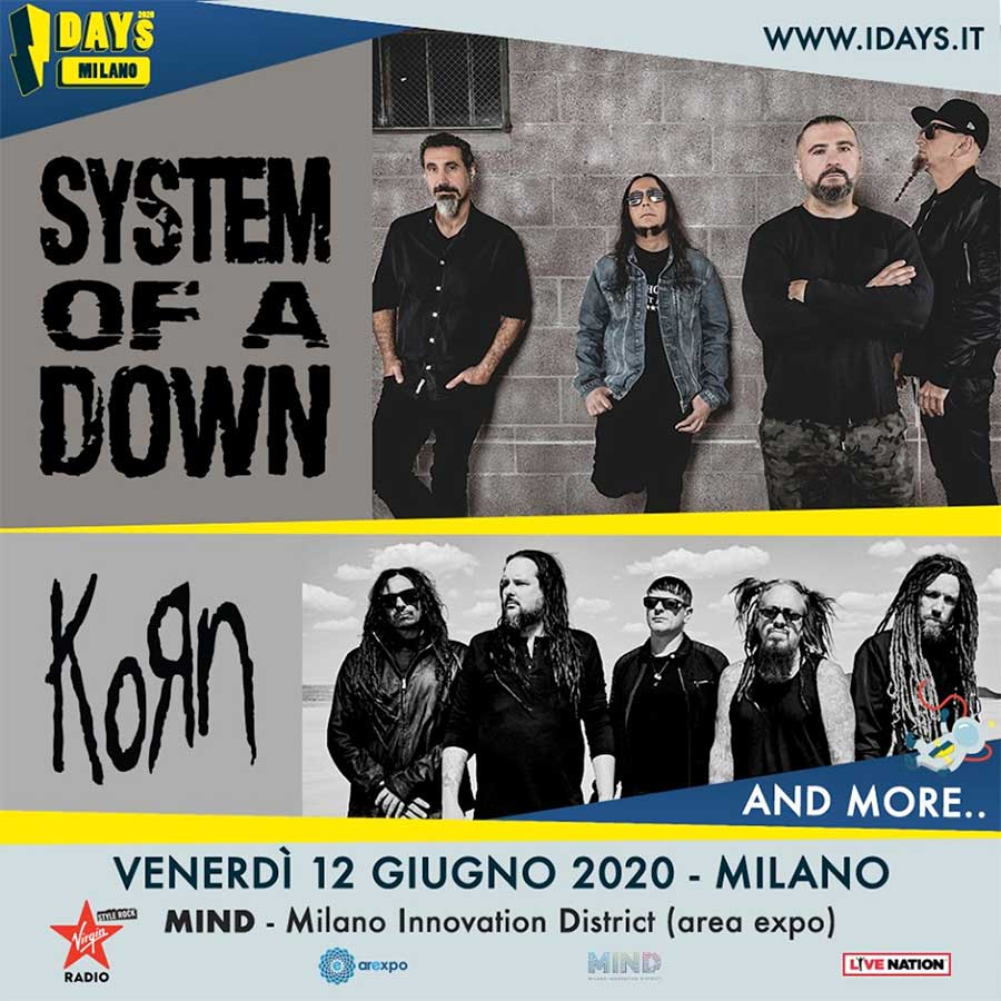 System of a Downand Korn play iDays festival 2020 Milan poster