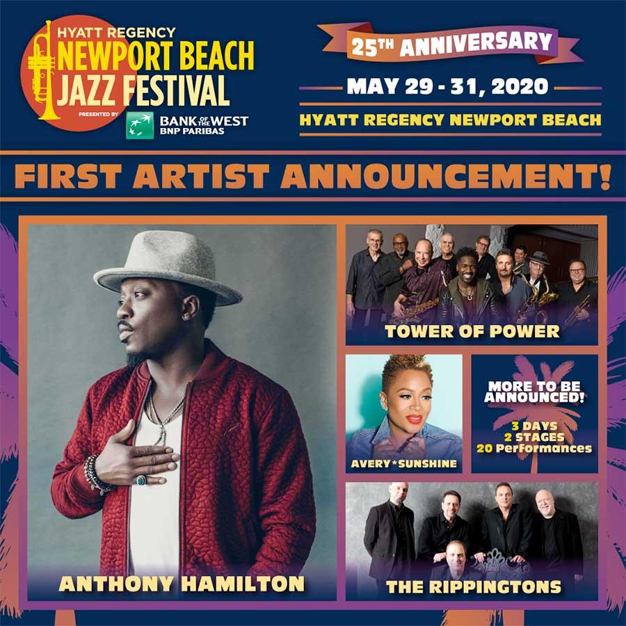 Newport Beach Jazz Festival first acts 2020 poster