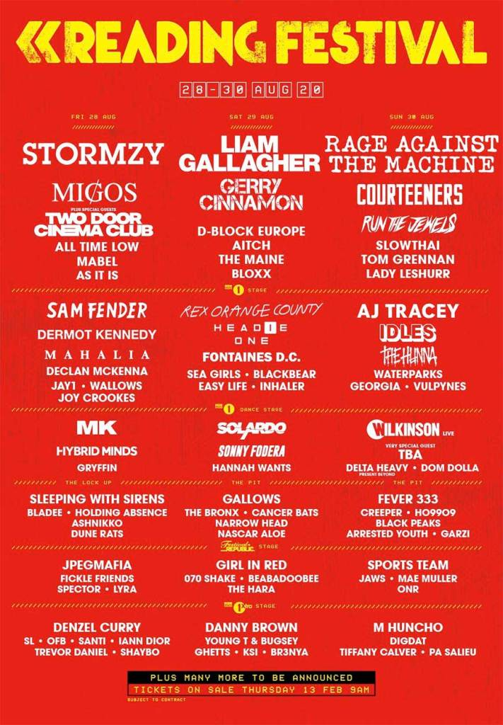 Reading Festival 2020 first acts poster