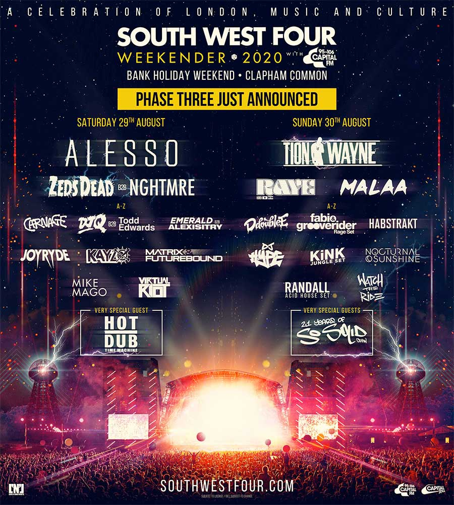 South West Four 2020 phase3 poster