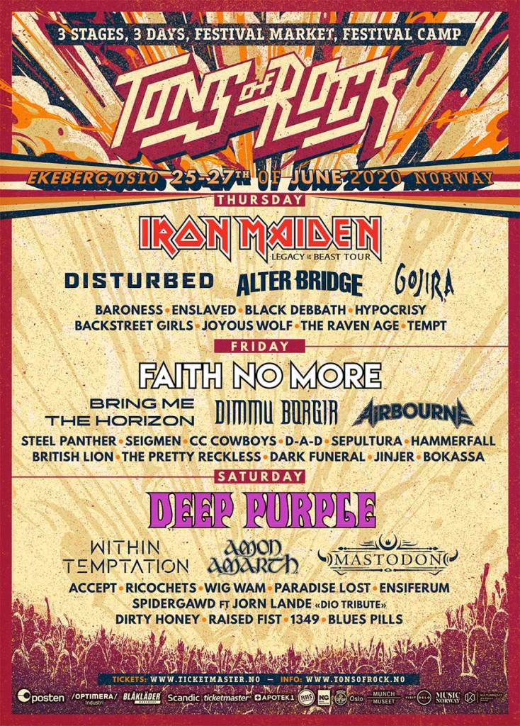 Tons of Rock Festival 2020 final poster