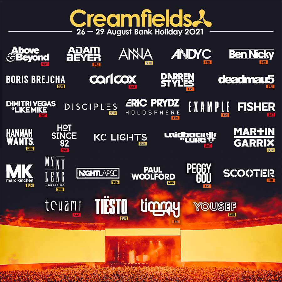 Creamfields UK 2021 first wave acts poster