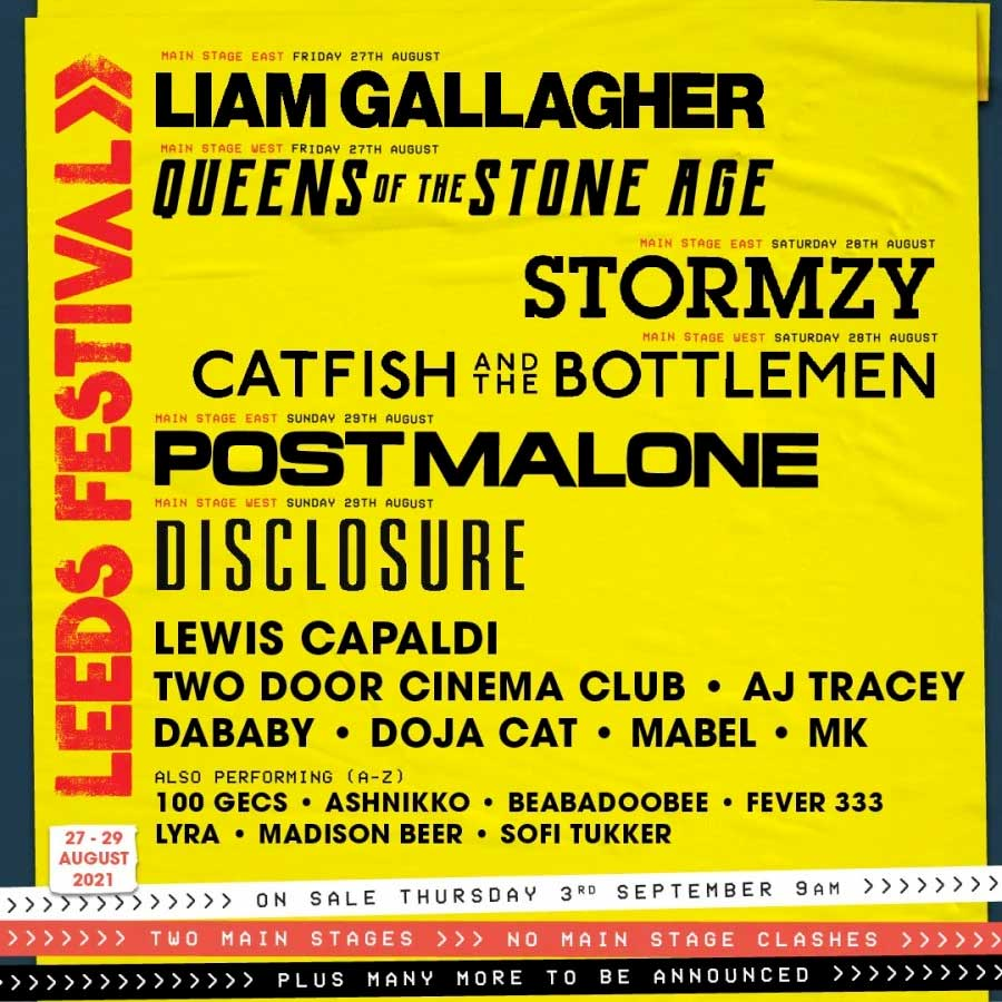 Leeds Festival 2021 first acts poster