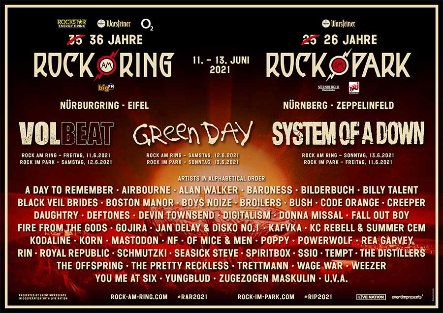 Rock am Ring and Rock im Park 2021 new bands poster sept