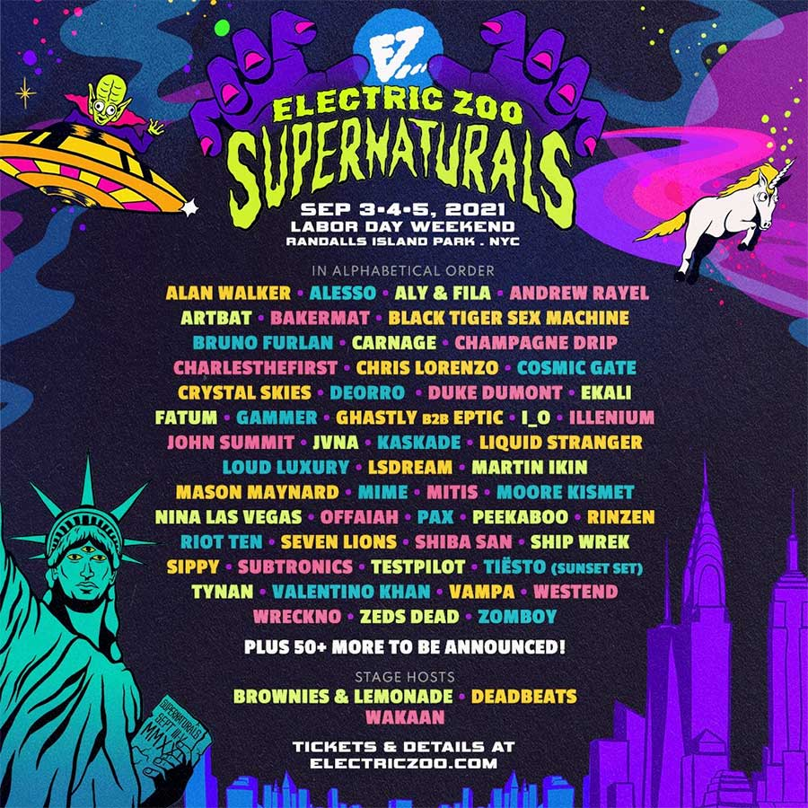 Electric Zoo 2021 Supernaturals first phase acts poster
