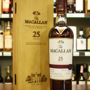The Macallan 25 Year Old Sherry Oak range this special malt delivers an intensely rich and flavour character, citrus, dried fruits and wood