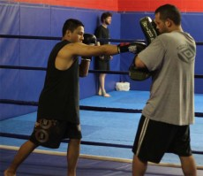 Ultimate Martial Arts cross strike to pads