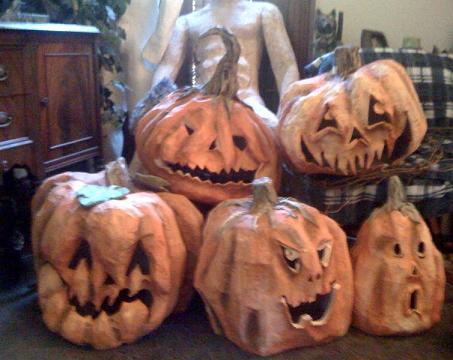 Lauries Paper Mache Pumpkins