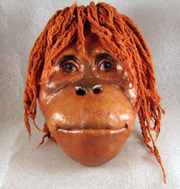 Finished Paper Mache Orangutan Mask