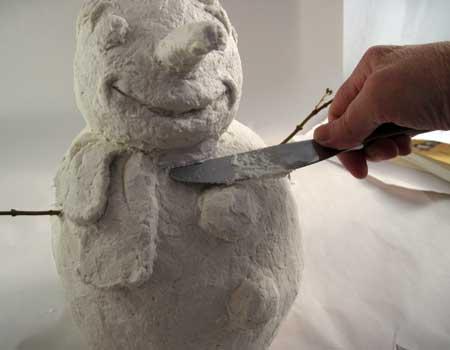 Paper Mache Clay Snowman, Step 4