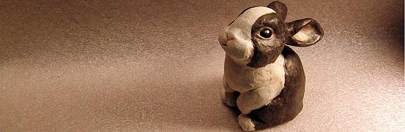Paper Mache Rabbit Sculpture