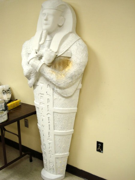 Paper Mache Sarcophagus, painted white