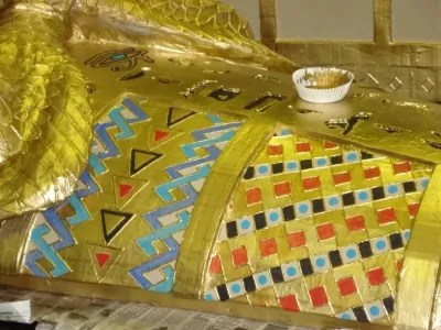 Paper Mache Sarcophagus, details added
