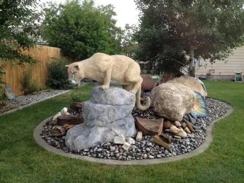 Finished Concrete Mountain Lion Sculpture