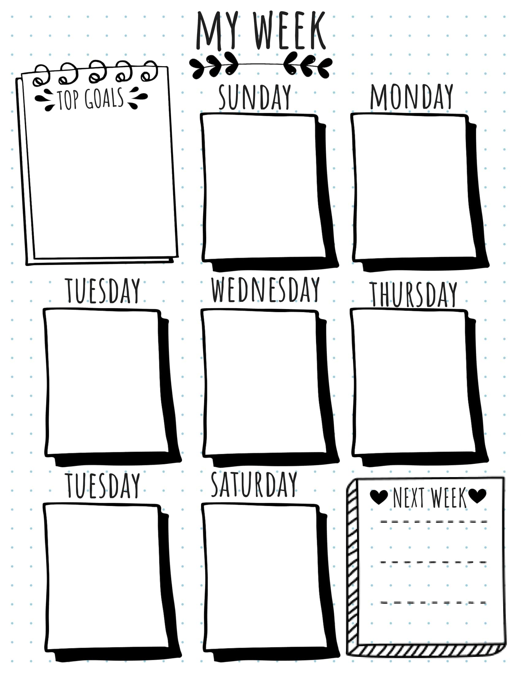 Printable Bullet Journal Weekly Layouts