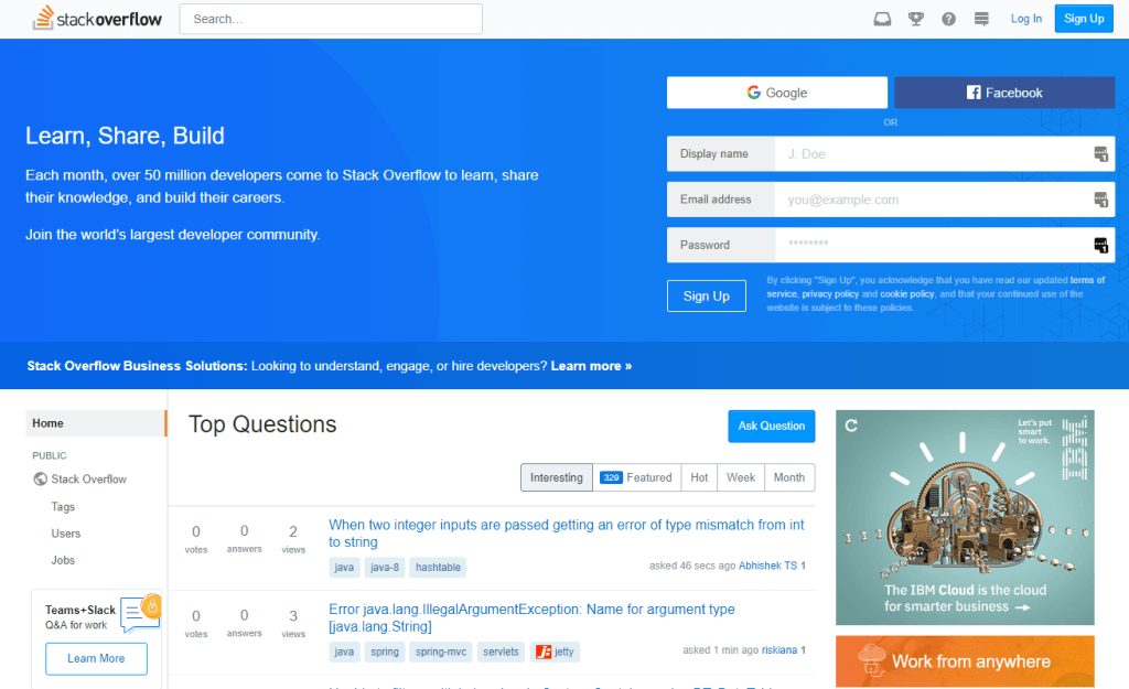 stack overflow homepage