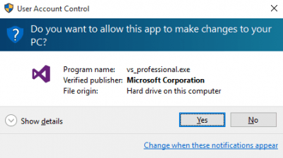 making changes to hard drive while installing visual studio