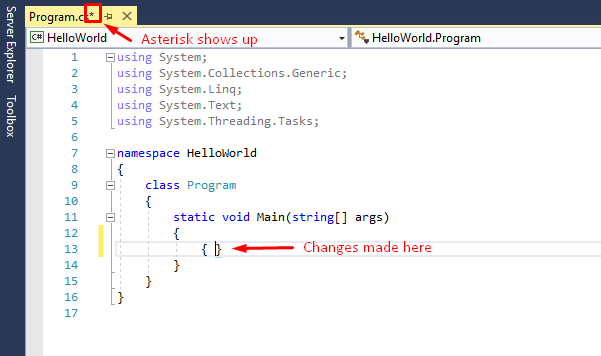 asterisk symbol in visual studio means need to save