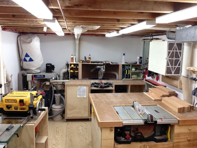small basement shop woodworking