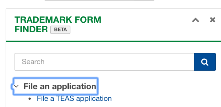USPTO MyUSPTO form finder link to file a TEAS application.
