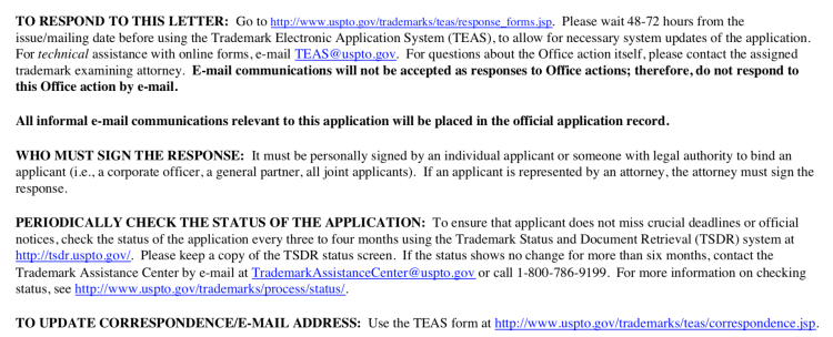 Example USPTO trademark office action response instructions.