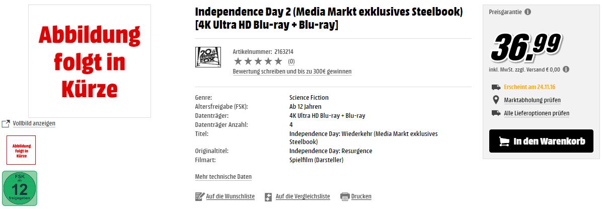 Independence Day 2: Wiederkehr: Erster 4K-Spielfilm auf Ultra HD Blu-ray im Steelbook