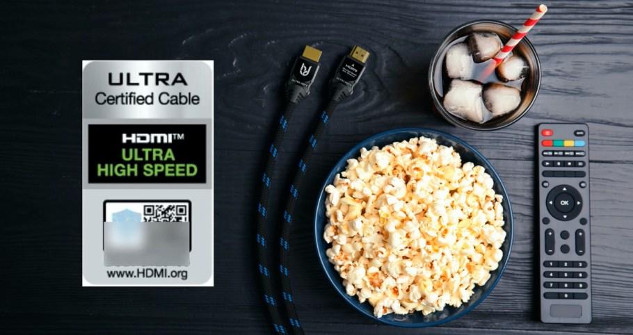 Das zertifizierte 8K HDMI 2.1 Kabel von Ultra HDTV mit Vollmetallstecker.
