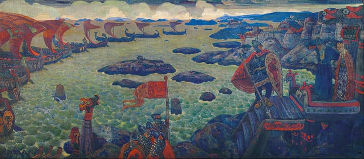 Ready for the Campaign (The Varangian Sea) by Nicholas Roerich. Image via Google Art Project.