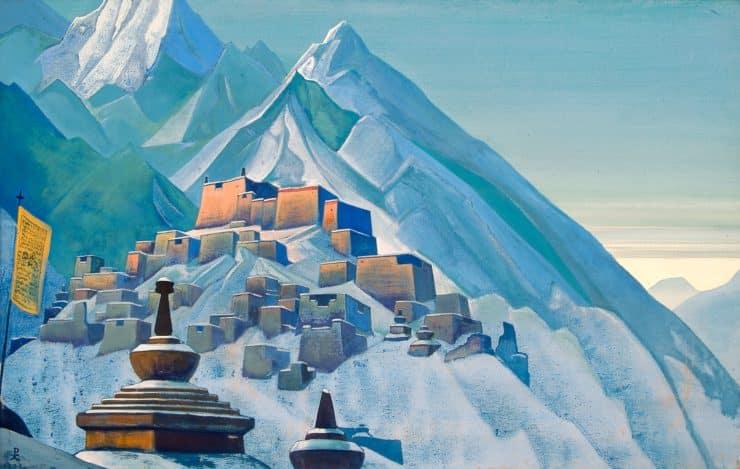 Tibet-Himalayas by Nicholas Roerich. Image via Wikiart.org.