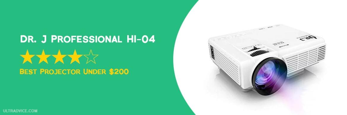 DR. J Professional HI-04 Mini Projector with 100 inch Projector Screen - Best Projector under $200 - ULTRAdvice.com