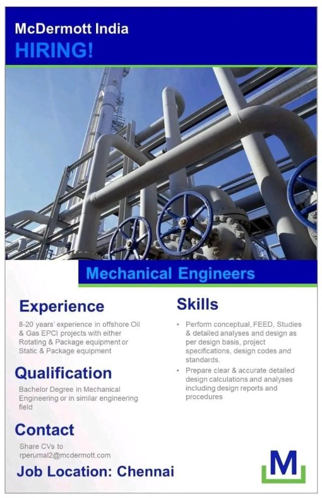 McDermott India Pvt Ltd Hiring| BE BTech|Mechanical Engineer
