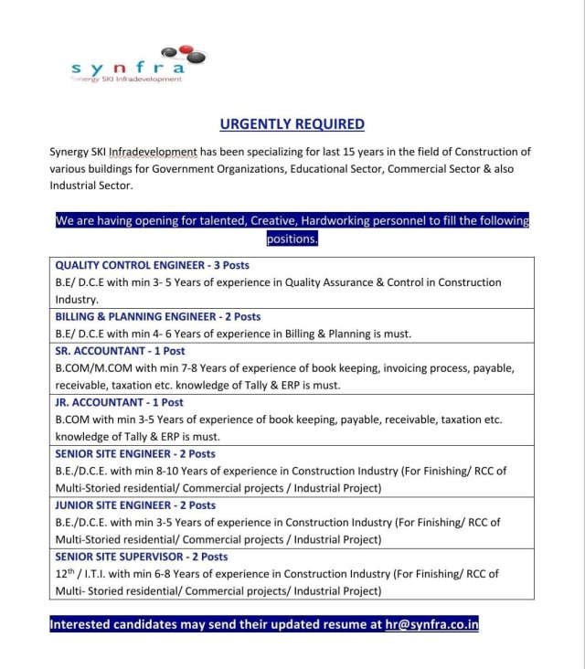 Synfra Ski Infradeveloment Hiring|BE BTech|Diploma| ITI Civil Engineer